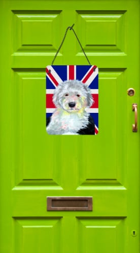 Old English Sheepdog with English Union Jack British Flag Wall or Door Hanging P Perspective: back