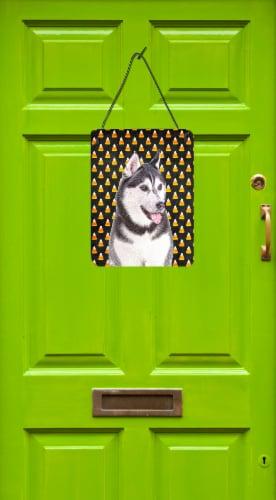 Candy Corn Halloween Alaskan Malamute Wall or Door Hanging Prints Perspective: back