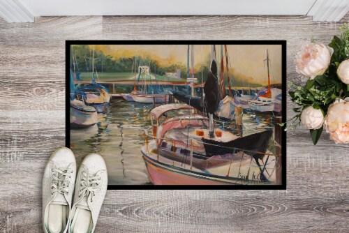 Carolines Treasures  JMK1032MAT Black Sails Sailboat Indoor or Outdoor Mat 18x27 Perspective: back