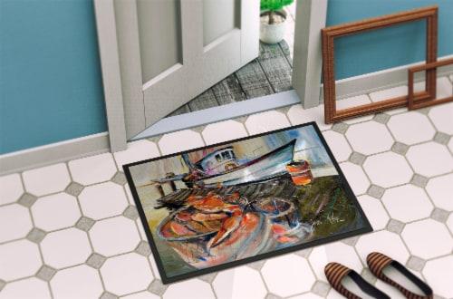Carolines Treasures  JMK1104MAT Blue Crab Trap Indoor or Outdoor Mat 18x27 Perspective: back