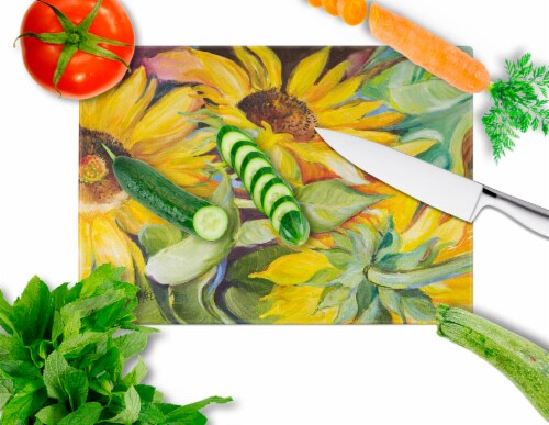 Carolines Treasures  JMK1122LCB Sunflowers Glass Cutting Board Large Perspective: back