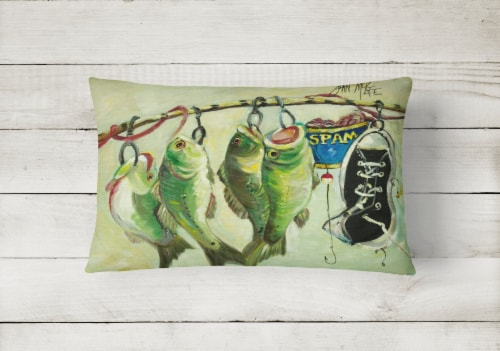 Recession Food Fish caught with Spam Canvas Fabric Decorative Pillow Perspective: back