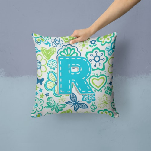 Letter R Flowers and Butterflies Teal Blue Canvas Fabric Decorative Pillow Perspective: back