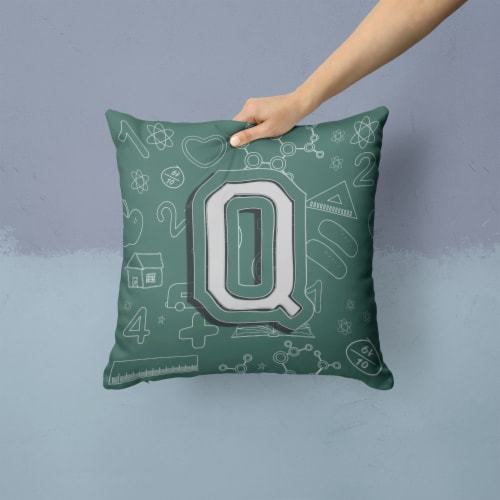 Letter Q Back to School Initial Canvas Fabric Decorative Pillow Perspective: back