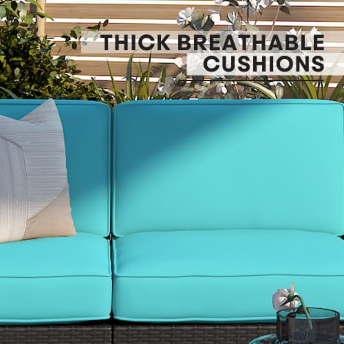 Kumo 6 Piece Patio Conversation Set Cushioned Sectional Sofa,Dark Brown Wicker Perspective: back