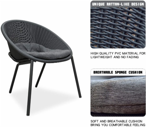 3-Piece Plastic Chair Set All-Weather Patio Conversation Set Perspective: back