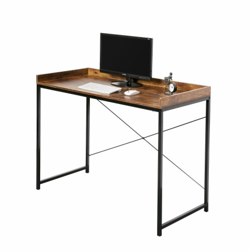 43 Inches Modern Industrial Computer Desk Wood Rustic Furniture for Home Office Perspective: back