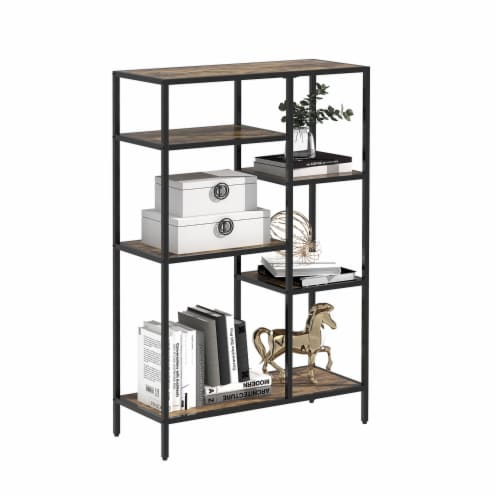 6-Open Bookshelf Bookcase Display Shelf Storage Organizer(Brown) Perspective: back