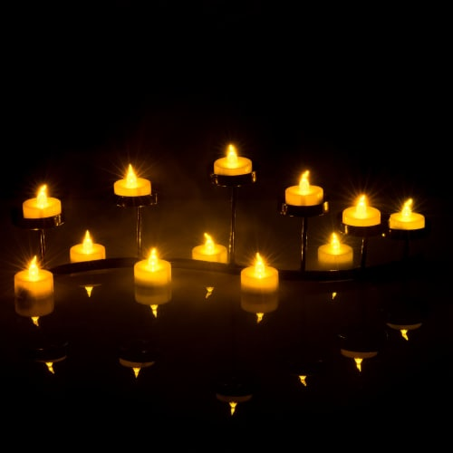 24pcs LED Tea Lights Timer Flameless Flickering Candles Amber Yellow Décor Perspective: back