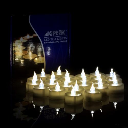 AGPtek 24 PCS LED Tealight Timer Warm White Candles Flameless Flickering Perspective: back