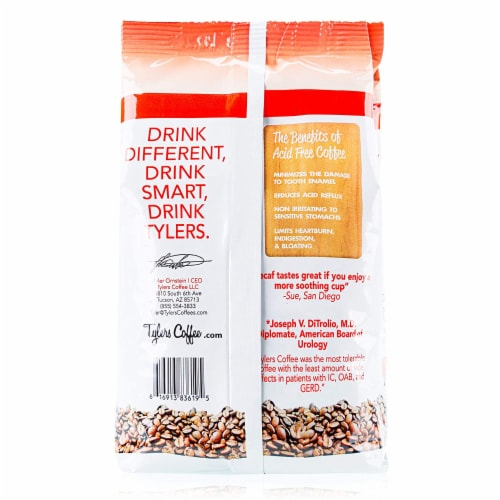 Tyler's No Acid Organic Coffee Beans, Arabica Full Flavor Decaf, 12 oz Perspective: back