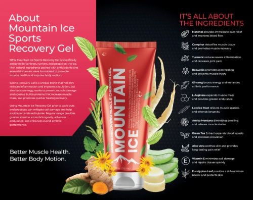 Mountain Ice Sports Recovery Muscle Pain Relief Gel 32 oz Pump Bottle Perspective: back