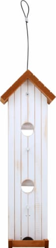 Stokes Select Wood Tower Bird Feeder - White/Brown Perspective: back
