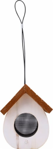 Stokes Select Cute Cling Wood Bird Feeder - White/Brown Perspective: back