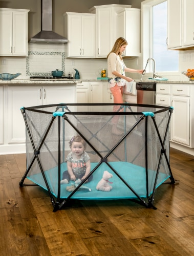 Regalo My Play 6-Panel Portable Play Yard - Aqua Perspective: back