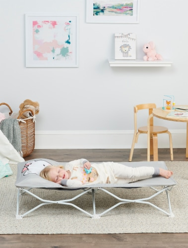 Regalo Bear My Cot Pal Portable Toddler Cot - Gray Perspective: back
