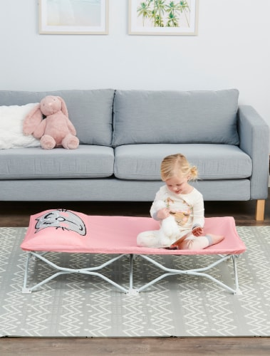 Regalo Cat My Cot Pal Portable Toddler Cot - Pink Perspective: back