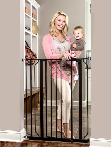 Regalo Easy Step Extra Tall Metal Walk Through Baby Safety Gate - Black Perspective: back