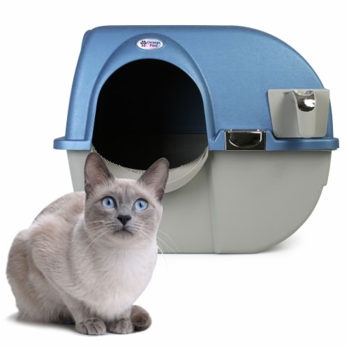 Omega Paw PR-RA15-1 Roll N Clean Self Separating Self Cleaning Litter Box, Blue Perspective: back