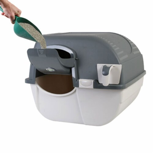 Omega Paw Easy Fill Roll n Clean No Scoop Self Cleaning Cat Litter Box, Gray Perspective: back