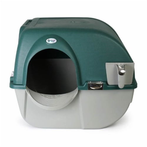 Omega Paw Roll'n Clean Unique No Scoop Self-Cleaning Home Cat Litter Box, Green Perspective: back