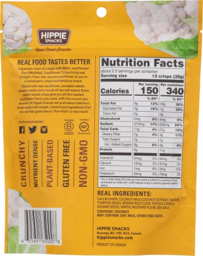 Hippie Snacks Original Cauliflower Crisps Perspective: back
