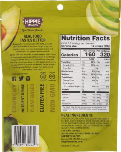 Hippie Snacks Guacamole Avocado Crisps Perspective: back