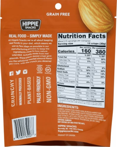 Hippie Snacks Cheezy Chive Almond Crisps Perspective: back