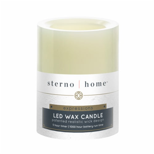 Inglow Flameless LED Unscented Pillar Candle - Cream Perspective: back