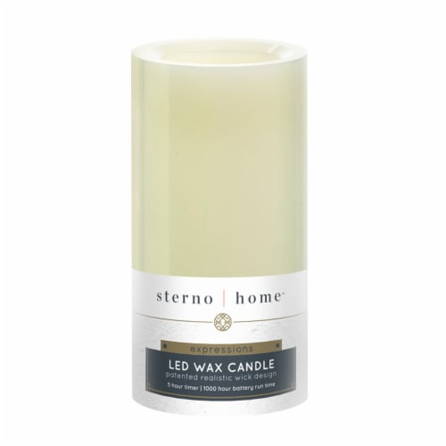 Inglow Flameless Real Wax LED Pillar Candle - Cream Perspective: back