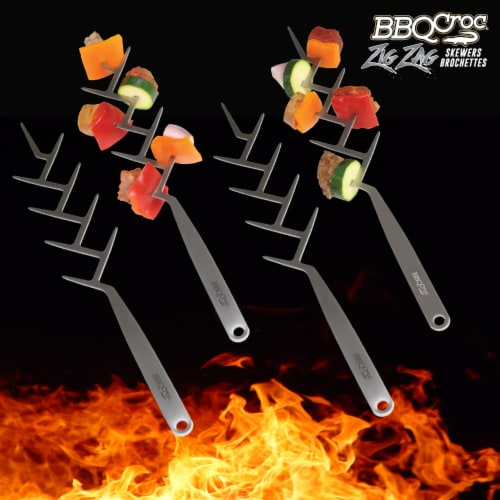 BBQCroc Stainless Steel 15 Inch Long Zig Zag 9 Prong Cooking Skewers (4 Pack) Perspective: back