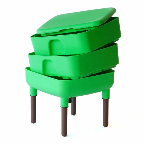 FCMP Outdoor Essential Living 6 Gallon Worm Composter Bin w/ Garden Trays, Green Perspective: back
