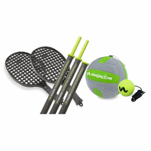 Viva Active Ultimate 2 in 1 Swingball and Tetherball Set with Paddles Included Perspective: back