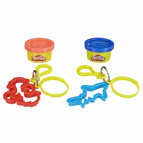 Play-Doh Dragon and Shark Cutters and Modeling Compound Key Chains Perspective: back