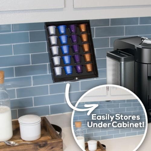 EZ-Shelf Coffee Pod Holder Under Cabinet Drawer Storage Organizer (for Nespresso Original Lin Perspective: back