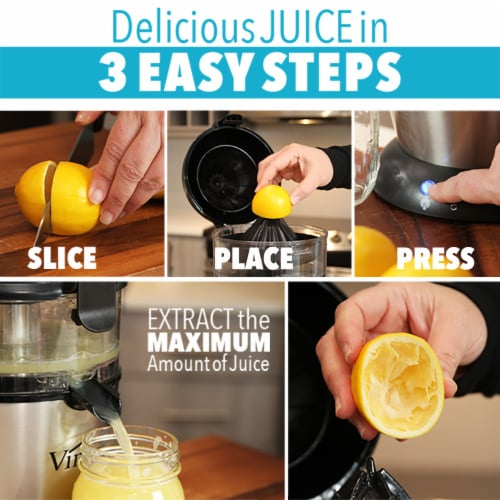 Vinci Hands-Free Electric Citrus Juicer, Stainless Steel, 1-Button Easy Press Perspective: back