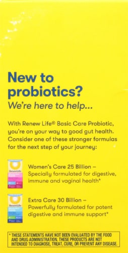 Renew Life Basic Care Probiotic Supplement Capsules Perspective: back