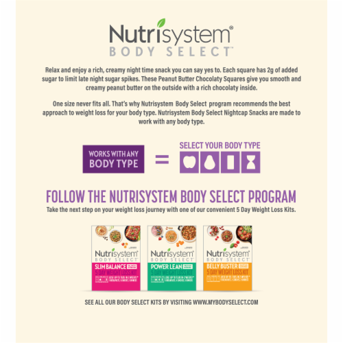 Nutrisystem Body Select Night Cap Snacks Peanut Butter Chocolaty Squares Snack Perspective: back