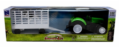 Green Farm Tractor with Attachable Cattle Trailer Perspective: back