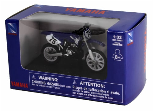 Die-Cast Blue Yamaha YZ 125 Dirt Bike, 1:32 Scale Perspective: back