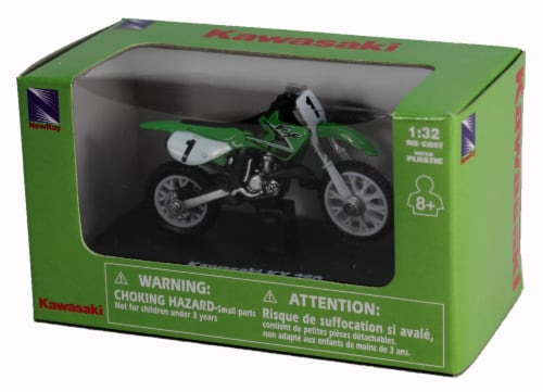 Die-Cast Green Kawasaki KK 250 Dirt Bike, 1:32 Scale Perspective: back