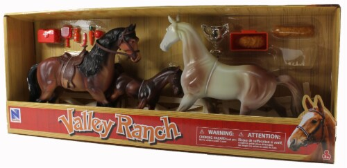 Valley Ranch 3 Horse Assortment (Brown and White) With Fence and Accessories Perspective: back