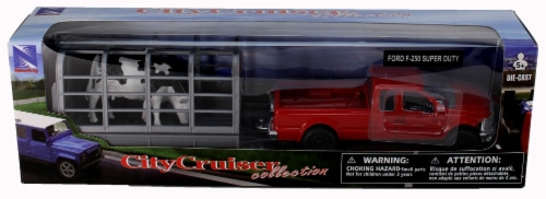 Red Ford F-250 Super Duty with Attachable Cattle Trailer Perspective: back