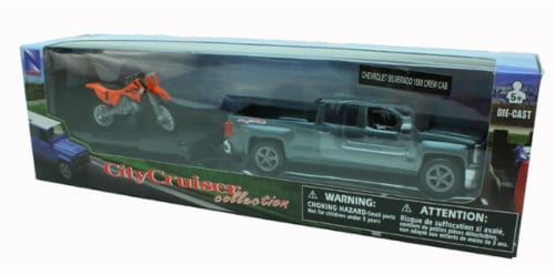 Chevrolet Silverado Die Cast Pick Up w/ Motorcycle Trailer (1:43 Scale) Perspective: back