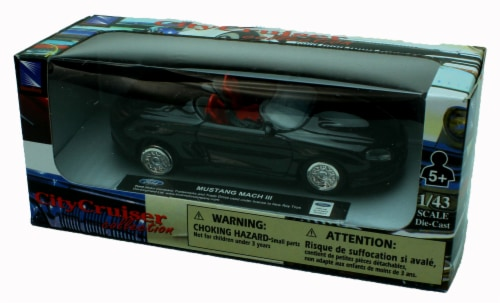 1:43 Scale Die-Cast Black Ford Mustang Mach III Convertible Perspective: back