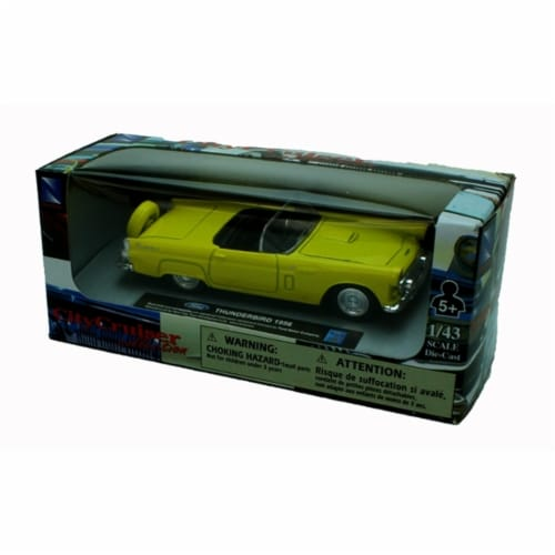 1:43 Scale Die-Cast Yellow 1956 Ford Thunderbird Convertible Perspective: back