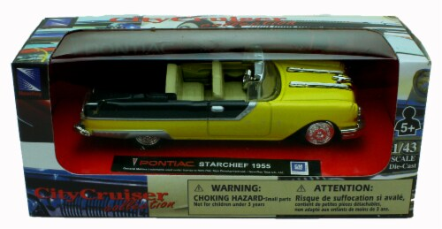 1:43 Scale Die-Cast Yellow 1955 Pontiac Starchief Convertible Perspective: back