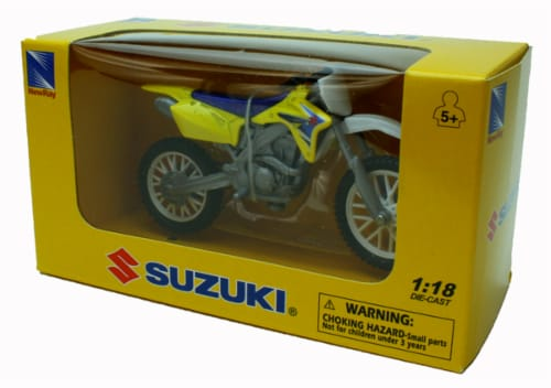 1:18 Scale Die-Cast Motorcycle - Yellow Suzuki RM-Z450 Perspective: back