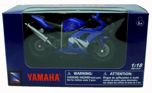 1:18 Scale Die-Cast Motorcycle - Blue Yamaha YZF-R6 Perspective: back