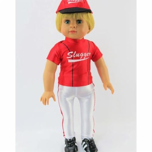 """18"""" Doll Clothing, Red Baseball Slugger Outfit with Accessories Perspective: back"""